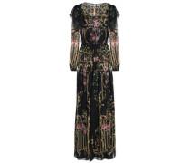 Printed ruffled silk-organza gown