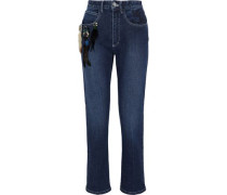 Cropped embellished embroidered high-rise slim-leg jeans