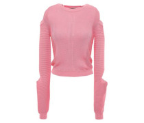 Cold-shoulder Cutout Ribbed-knit Sweater Pink