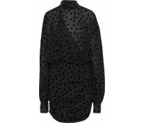 Wrap-effect Ruched Flocked Silk-blend Chiffon Mini Dress Black