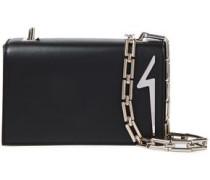 Woman G Appliquéd Leather Shoulder Bag Black