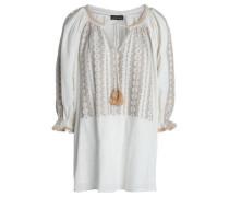 Lully Metallic Embroidered Cotton-gauze Tunic Ivory