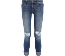 Florence Cropped Distressed Low-rise Skinny Jeans Mid Denim  7