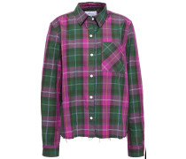 Woman Split-back Checked Cotton-twill Shirt Forest Green