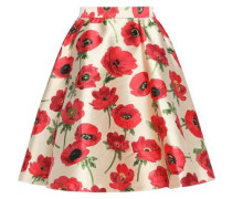 Flared floral-print satin-twill mini skirt