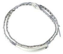 Sterling silver, bead and cord bracelet