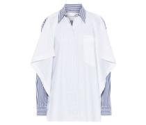 Draped Striped Cotton-blend Poplin Shirt White