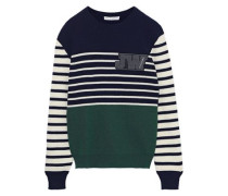 Appliquéd Striped Intarsia Wool Sweater Emerald