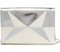 Metallic And Smooth Leather-paneled Clutch Silver Size --