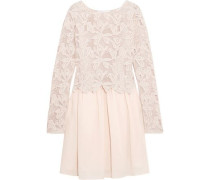 Layered Guipure Lace And Cotton-voile Mini Dress Pastel Pink