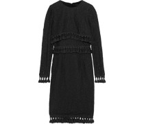 Tassel-trimmed Open-knit Cotton-blend Dress Black