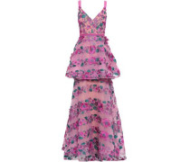 Layered Embroidered Point D'esprit Gown Magenta