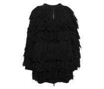 Fringed Virgin Wool Cardigan Black
