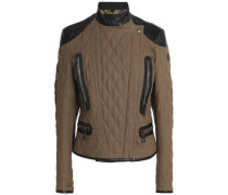 Leather-trimmed Quilted Cotton Jacket Army Green