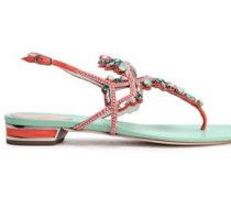 Embellished Suede And Satin Sandals Coral