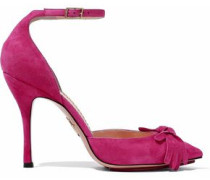 Knotted Suede Pumps Fuchsia