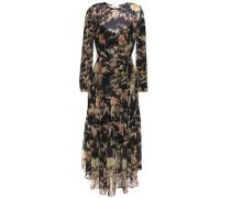 Woman Asymmetric Belted Floral-print Silk-chiffon Midi Dress Black