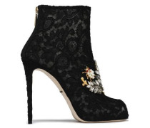 Embellished Lace Ankle Boots Black