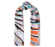 Woman Printed Silk Voile Scarf Orange