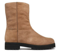 Woman Suede Ankle Boots Beige