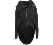 Ribbed-knit Trimmed Shell Hooded Jacket Black