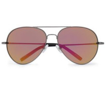 Aviator-style gunmetal-tone mirrored sunglasses