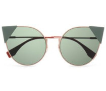 Cat-eye Acetate And Rose Gold-tone Sunglasses Rose Gold Size --