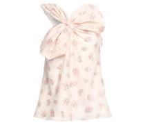 One-shoulder Bow-embellished Fil Coupé Top Baby Pink Size 0