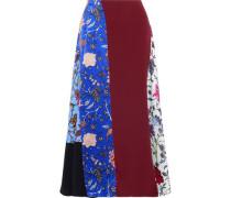 Crepe-paneled printed silk crepe de chine midi skirt
