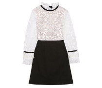 Velvet-trimmed Cutout Lace And Stretch-poplin Mini Dress White