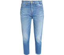 Cropped faded mid-rise slim-leg jeans