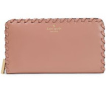 Whipstitched Polished-leather Continental Wallet Antique Rose Size --