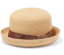 Grosgrain-trimmed Toquilla Straw Hat Beige