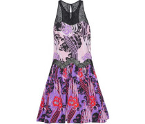 Lace-paneled printed cotton-poplin mini dress