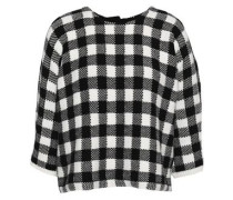 Gingham jacquard-knit cotton-blend sweater