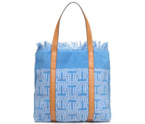 Faux Leather-trimmed Printed Terry Tote Azure Size --