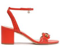 Marguerite Floral-appliquéd Laser-cut Leather Sandals Coral
