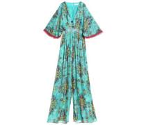 Smocked printed silk jumpsuit