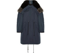 Shearling-trimmed Cotton And Wool-blend Hooded Coat Navy