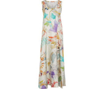 Floral-print Silk-twill Maxi Dress Neutral