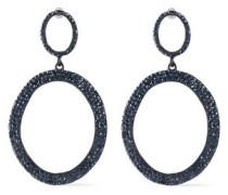 Coated Metal Crystal Hoop Earrings Black Size --