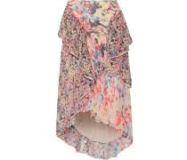 Asymmetric ruffled floral-print silk-georgette midi skirt