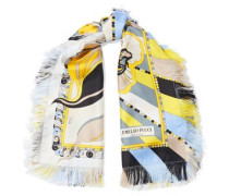 Fringed Printed Silk-twill Scarf Yellow Size --
