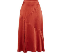 Fluted Silk-charmeuse Midi Skirt Brick Size 0