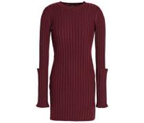 Zip-detailed Ribbed Merino Wool Sweater Burgundy