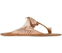 Kiki Tasseled Metallic Leather Sandals Rose Gold