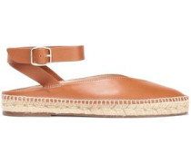 Leather Espadrille Mules Light Brown