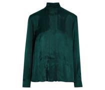 Pleated Satin-twill Blouse Emerald