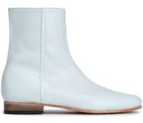 Rod Leather Ankle Boots White