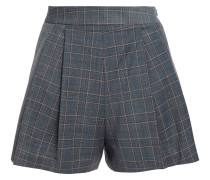 Woman Prince Of Wales Checked Stretch-crepe Shorts Gray
